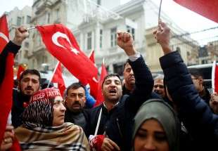 Turkish people protest military action against Syria