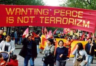 Activists come together to protest against terrorism