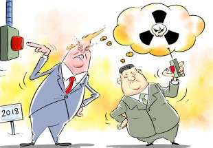 'My nuclear button is bigger than yours' (cartoon)