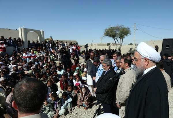 President Rouhani visits flood-hit areas in Sistan & Baluchistan Province