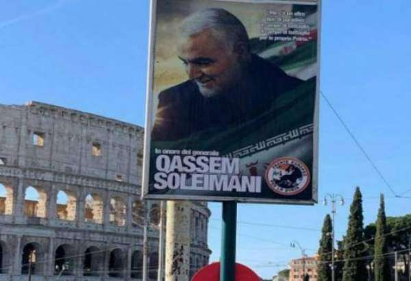 The poster of Iranian Lieutenant General Qassem Soleimani's outside the Colosseum in Rome, Italy. (Photo via Twitter)