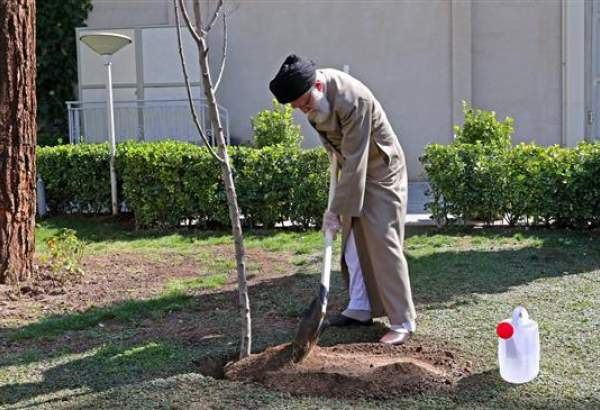 Supreme Leader of Islamic Revolution Ayatollah Khamenei planting a saplin on March 2, 2020.