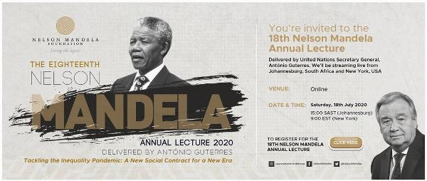 18th annual Nelson Mandela Lecture to be held online