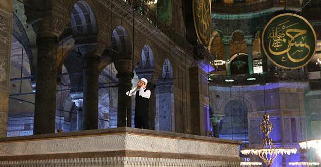 First Adhan called in Istanbul's Hagia Sophia Mosque (multimedia)