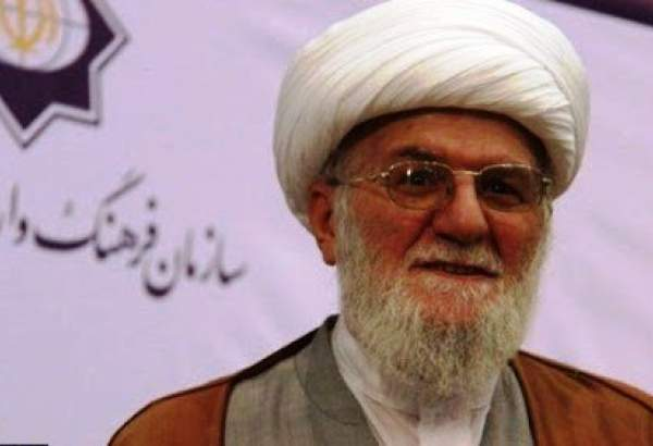 """Ayatollah Taskhiri, man of commitment, endeavor, determination"", cleric"