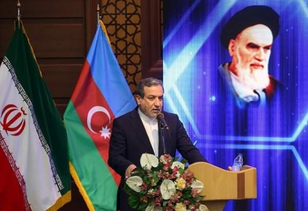 Abbas Araqchi, Iranian deputy foreign minister for political affairs delivering speech at the international conference on Karabakh in Qom (photo)